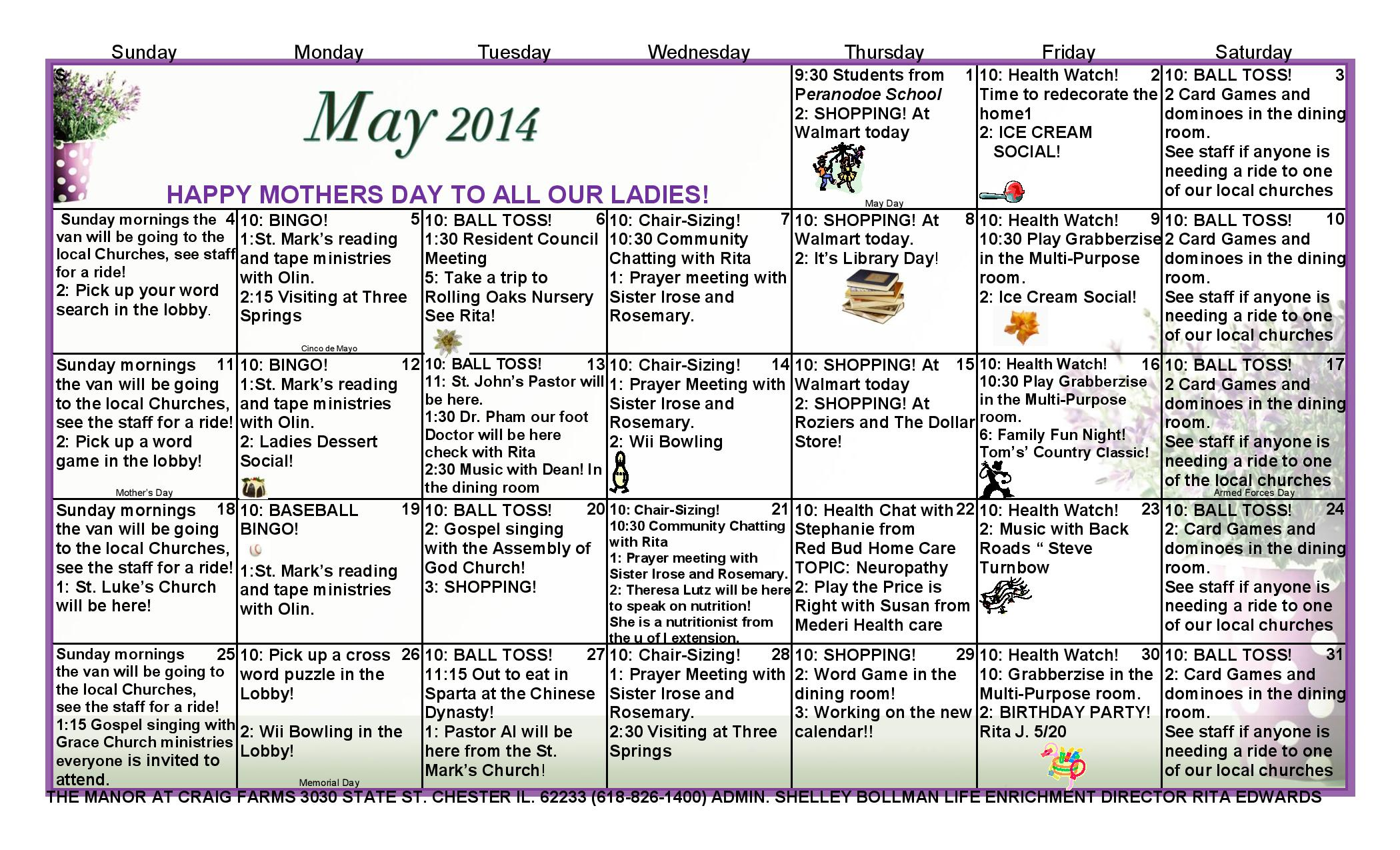 May Calendar Of Events : May calendar of events the manor at craig farms
