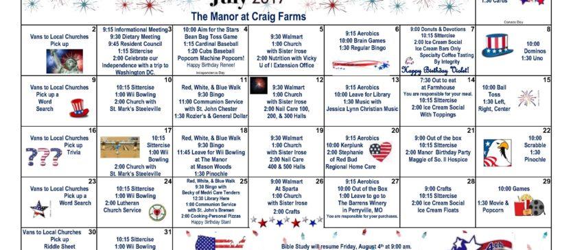July 2017 Calendar – The Manor at Craig Farms